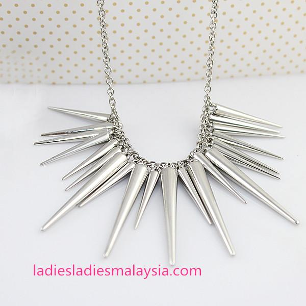 Gold and Silver Alloy Spike Punk Necklace