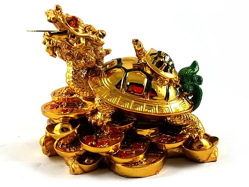 Golden Dragon Tortoise with Child for Career and Descendant Luck