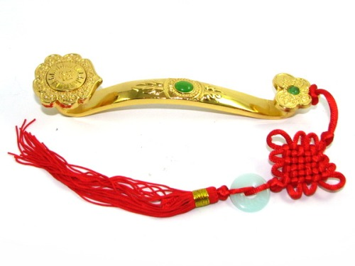 Golden Feng Shui Ruyi with Mystic Knot for Power, Authority & Recognit