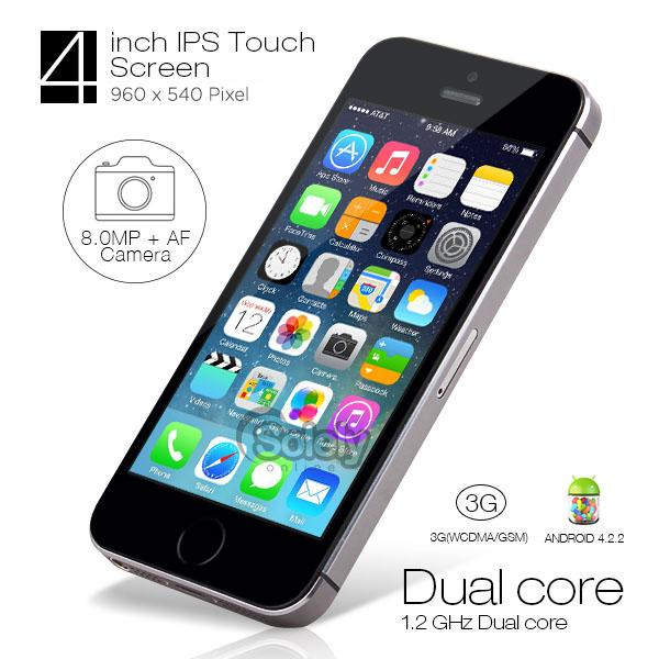 "GooPhone i5S Black 4"" IPS 3G Mobile Phone 8MP Camera 8GB Smartphone"