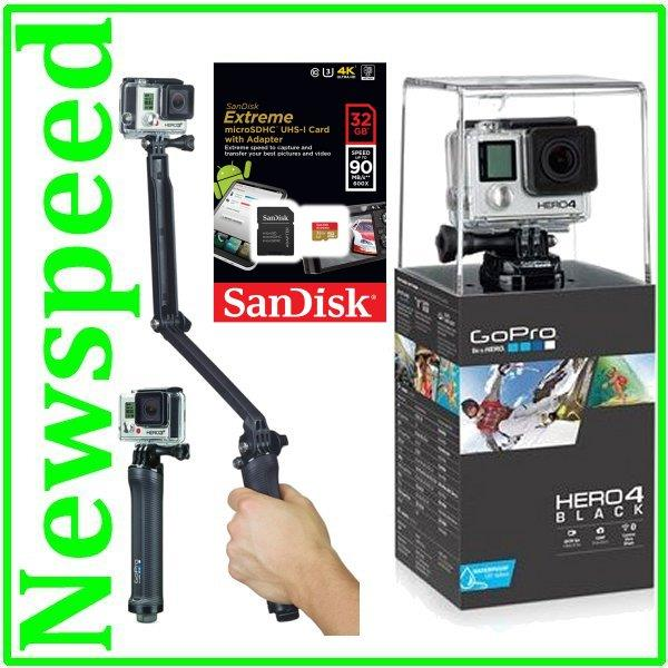 GoPro HERO4 Black Edition 4K video Action Camera + 32GB + 3-way tripod
