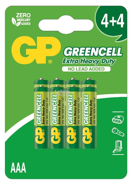 GP GREENCELL EXTRA HEAVY DUTY 24G 4PCS FREE 4PCS AAA BATTERY