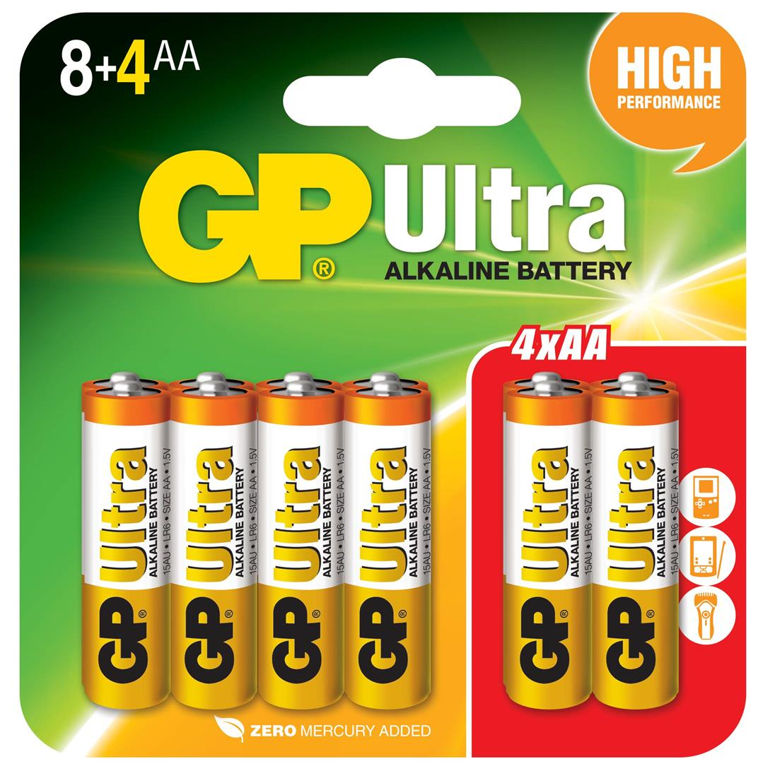 GP ULTRA ALKALINE 15AU 8+4PCS AA BATTERY+FOC LED keychain for 2card