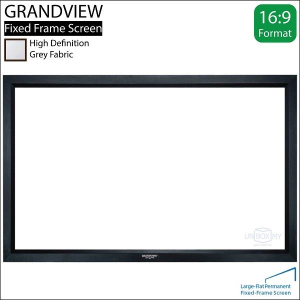 "GRANDVIEW Large Flat Series Fixed Frame Screen 106""D 16:9 Grey"
