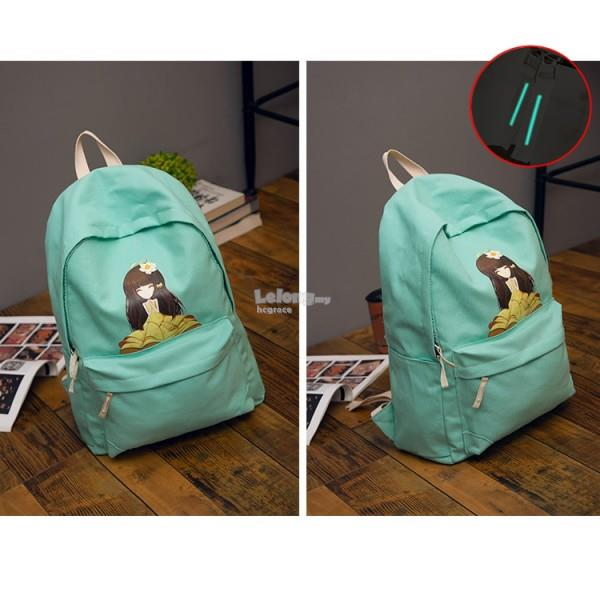 Graphic Cartoon Girl Backpack / Canvas Cute Colour Backpack [3 colour]