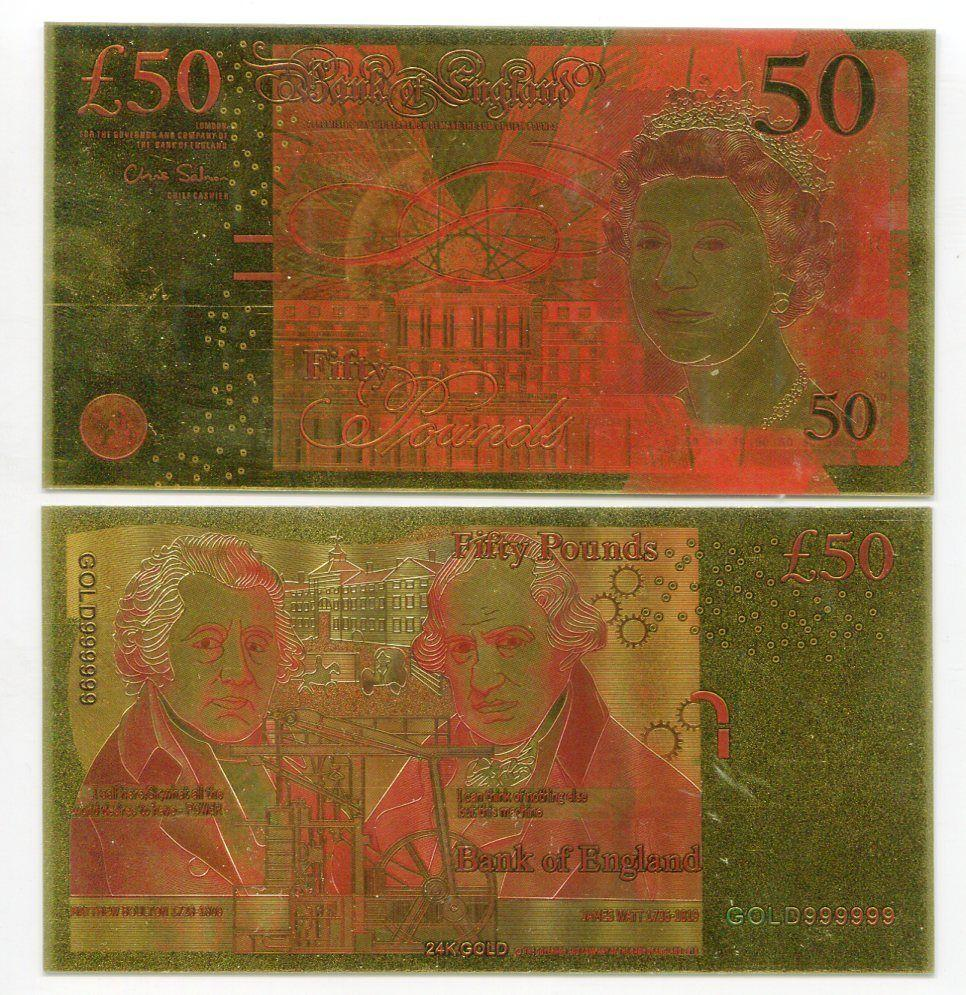 GREAT BRITAIN 50 POUNDS COLORFUL 24K GOLD bill