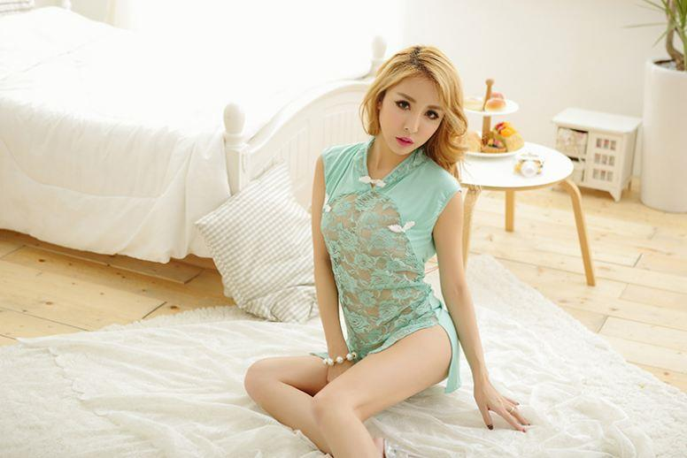 Green Cheogsam Chinese Style Lingerie Lace Polyester YE513
