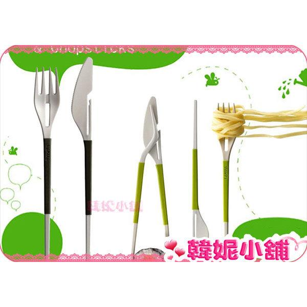 New Green Eating Utensils Set, Chopsticks with Knives and Fork