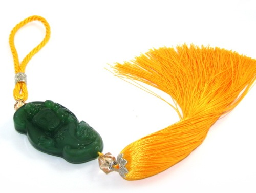 Green Kuan Yin Goddess of Mercy Tassel for Protection - Car Amulet