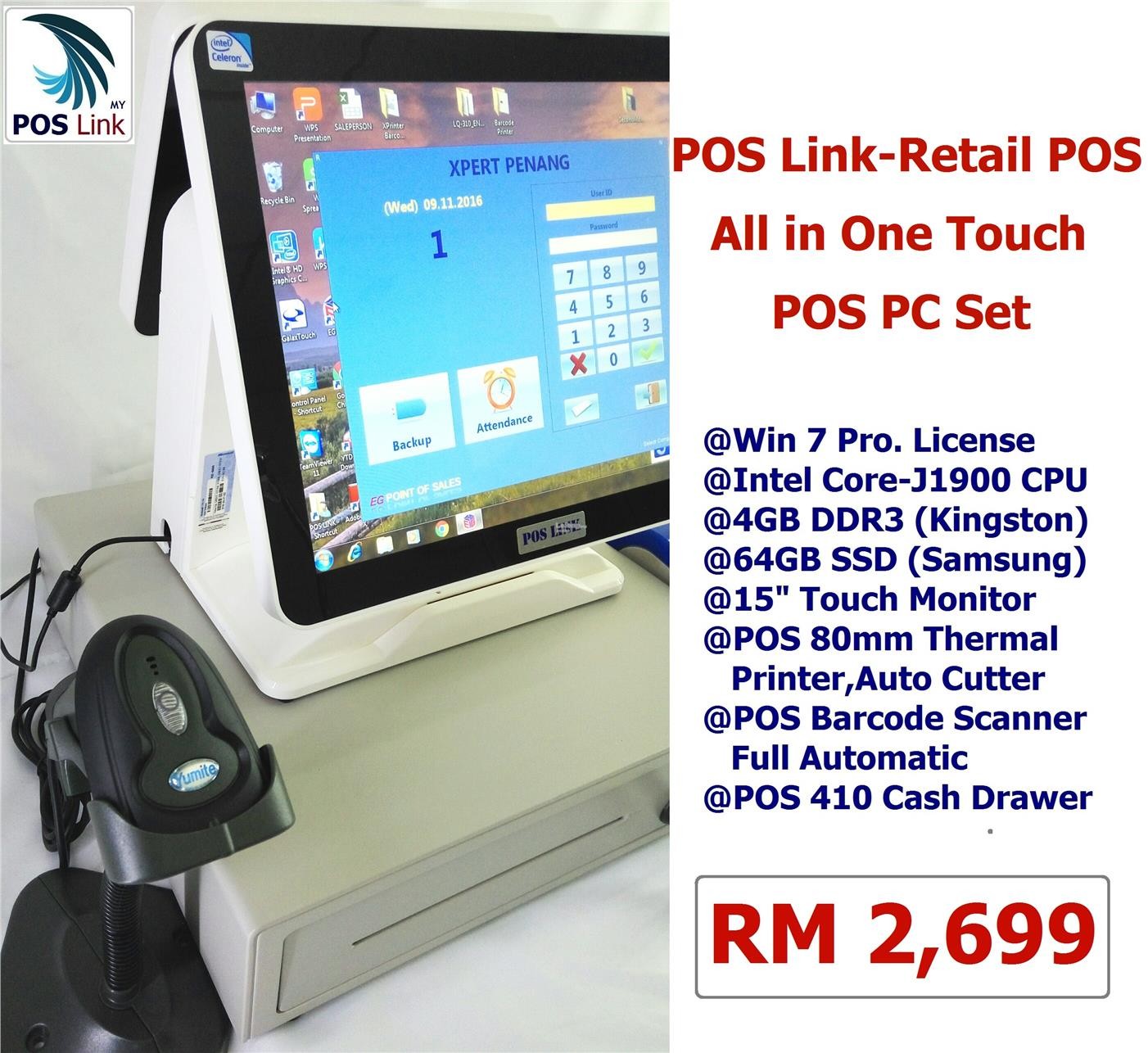 "GST POS System-Combo Set 15""AIO POS PC+80Printer +Barcode +Cash Drawer"