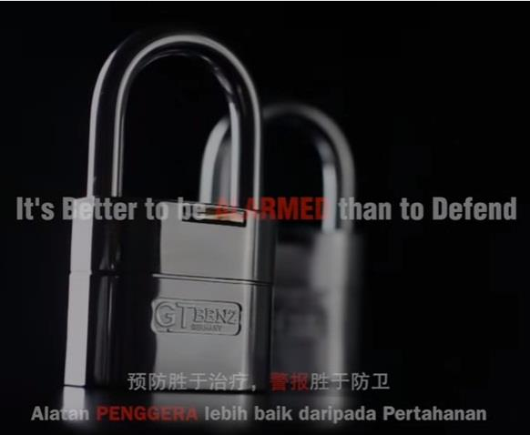 GT Benz 60mm Alarming Padlock (GT-205)