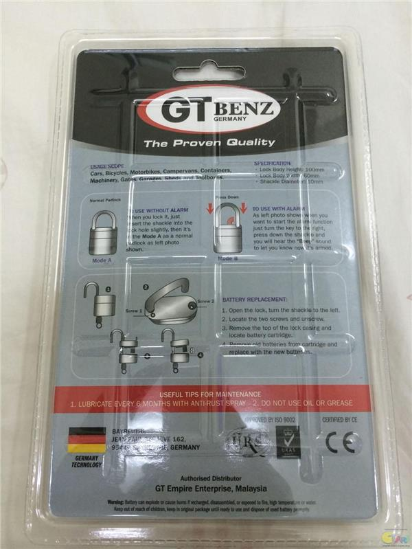 GT BENZ (GERMANY) ALARM PADLOCK SuperBike Lorry House Factory Shop