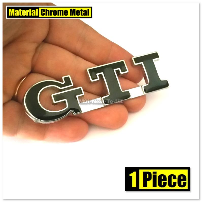 GTI BLACK 8.6cm HQ Chrome 3D Metal Car Trunk Badge Side Auto Emblemx1