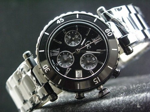 GUESS COLLECTION REAL SWISS COVER LIMITED BLACK STOP-WATCHES FOR MEN
