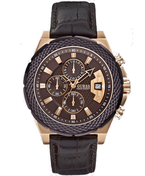Мужские часы Guess Brown And Rose Gold-Tone Boldly Detailed Sport Watch Мужские часы Guess Brown And Rose