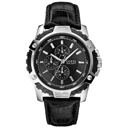 Guess W14558G1 Gents Sport Black Leather Multifunction Watch
