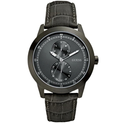 Guess W85120G1 Gents Dress Grey Leather Watch