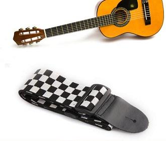 Guitar Belt Black White Checkered Flag