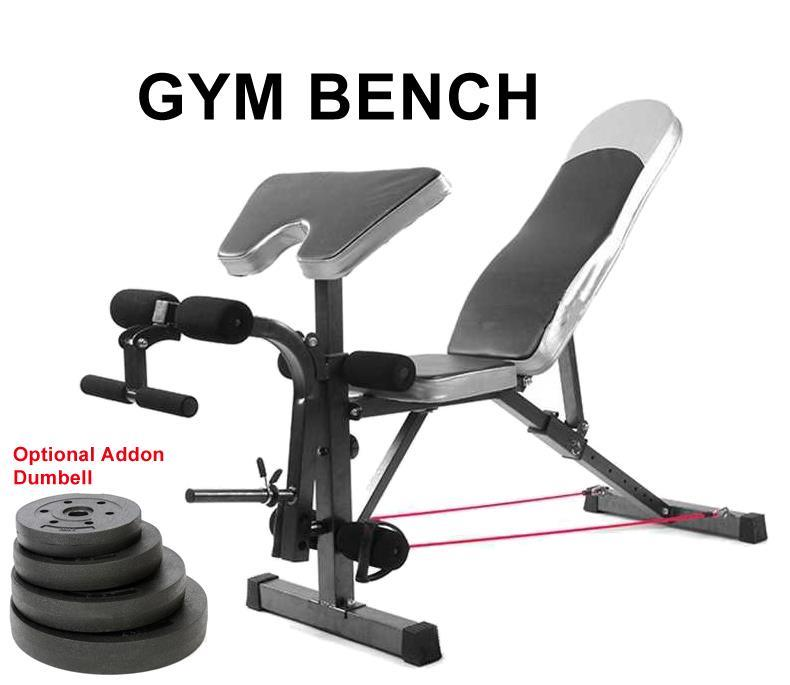 Gym Fitness Sit Up Dumbbell Bicep Leg Curl Bench Chair (Gym Bench + 7.