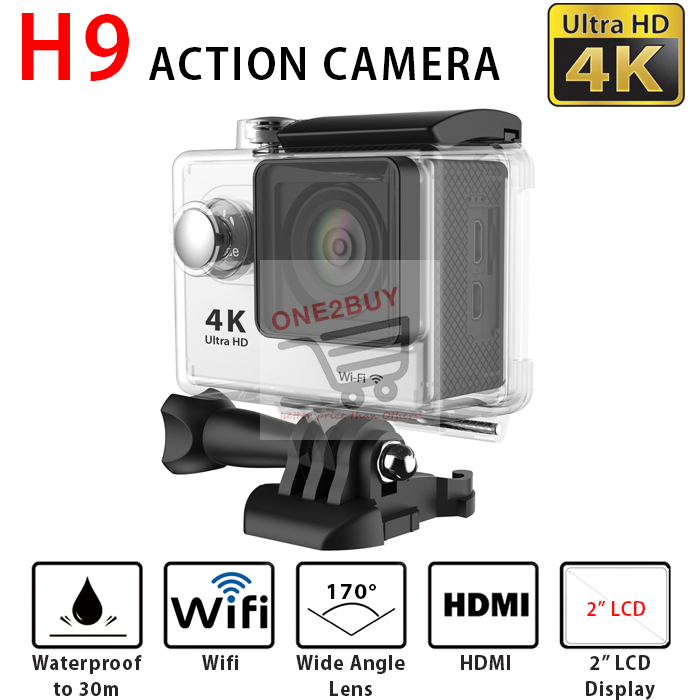 H9 Ultra-HD 4K Action Camera 2' LCD Wifi Sports Cam Camcorder Silver
