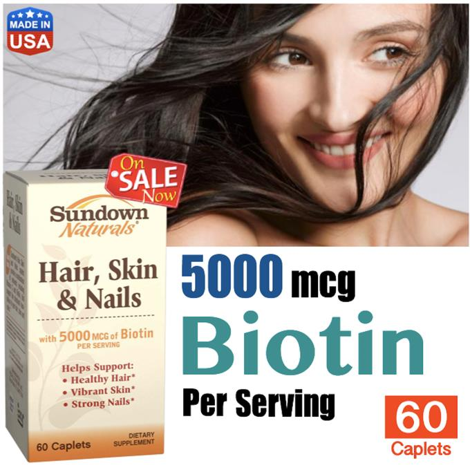Hair Skin & Nails, 5000 mcg Biotin, 60 Tablets (Hair loss, Botak) USA