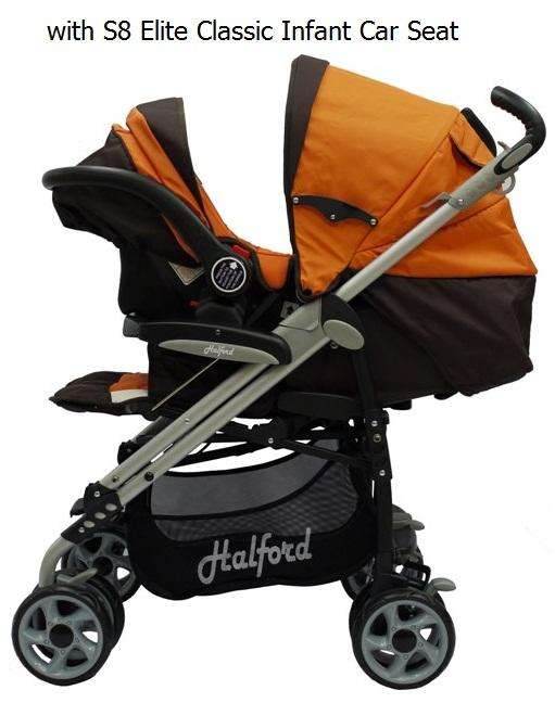 HALFORD: S8 Pramette Stroller/T/System(Orange/Brown)