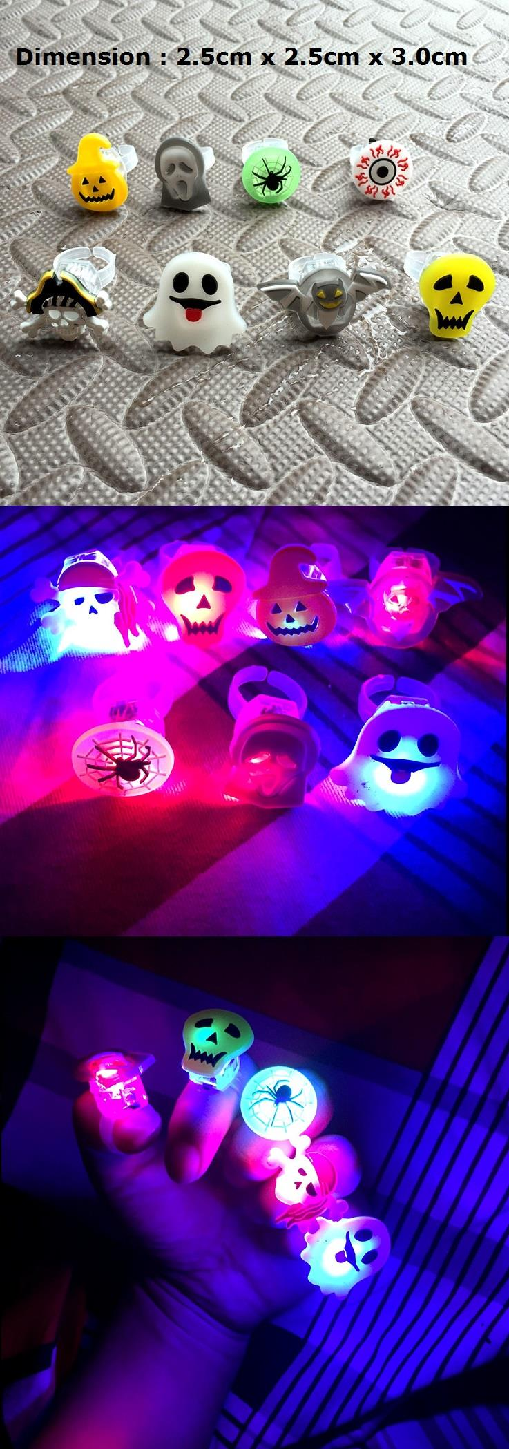 Halloween Christmas Birthday Party Disco Gifts (Ring With Light)