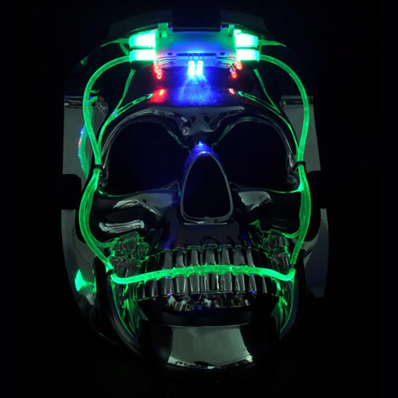 Halloween LED luminous glitter plastic skull mask, Costume