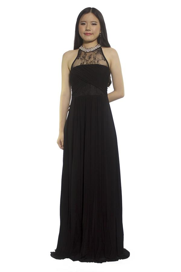 Halter Beads Flare Evening Dress