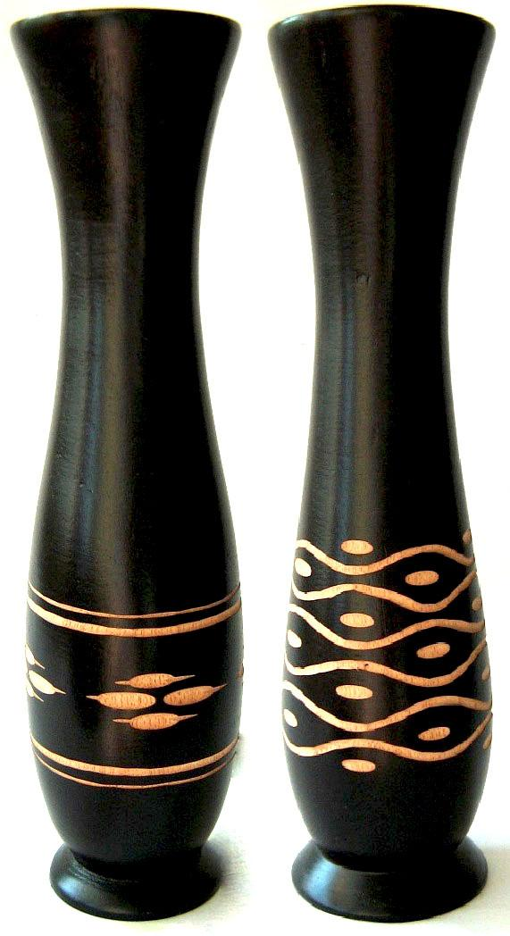 Hand Crafted Decorative Wooden Vase Set B (Set of 2)