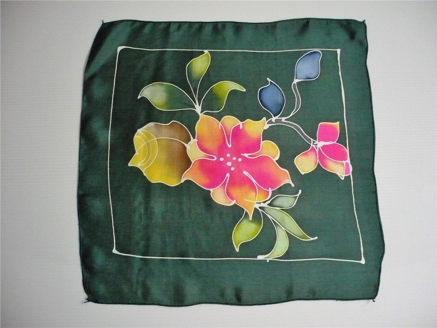 Hand drawn silk hankerchief (Code S105) - FREE SHIPPING