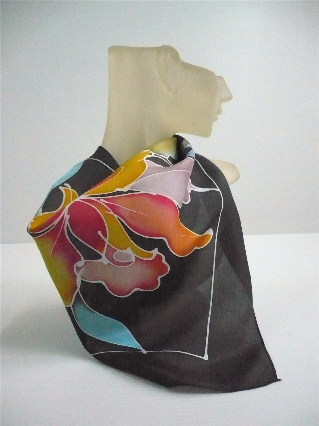 Hand drawn silk hankerchief (Code S110) - FREE SHIPPING