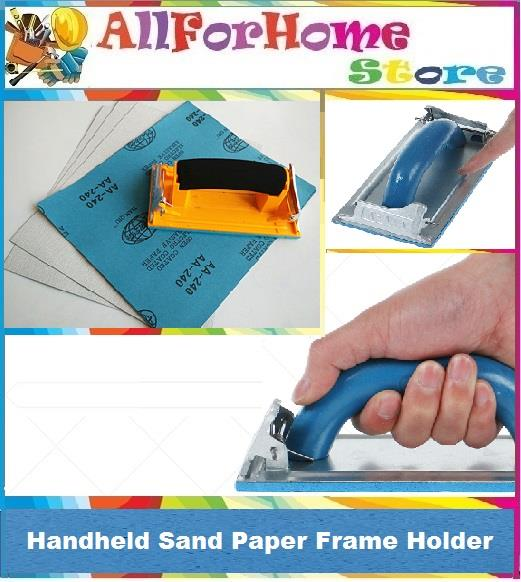 Hand Grip Sand Paper Frame Handheld Sandpaper Holder w/ two Clips Pad