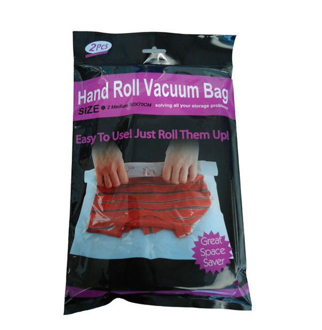 Hand Roll Vacuum Bag Easy Travel Space Saver 2pcs