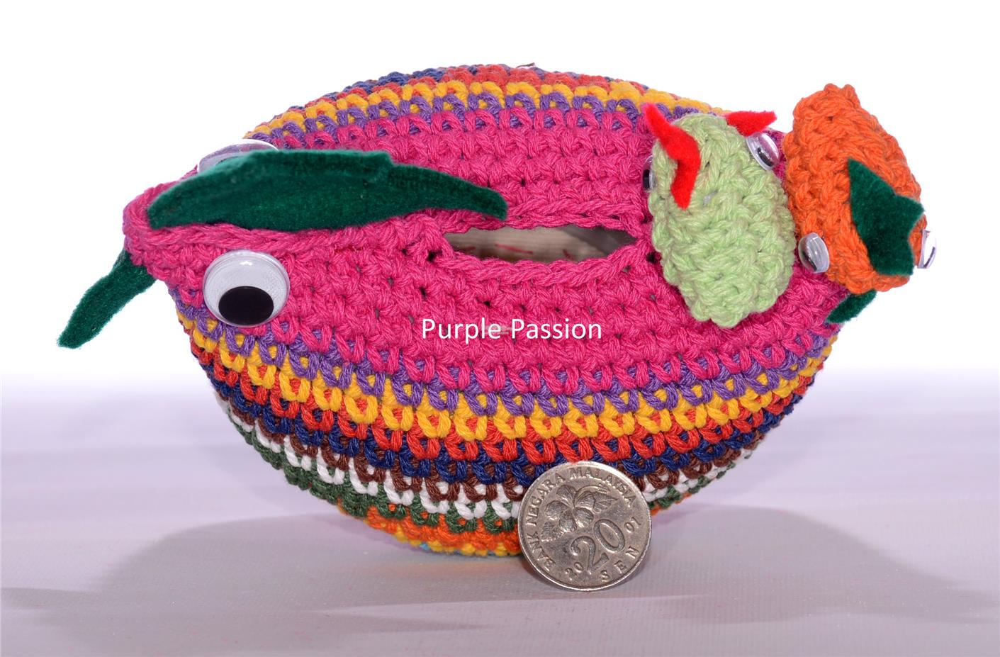Handmade Crochet Coin Box for Gift and Home Decor, PPCB048