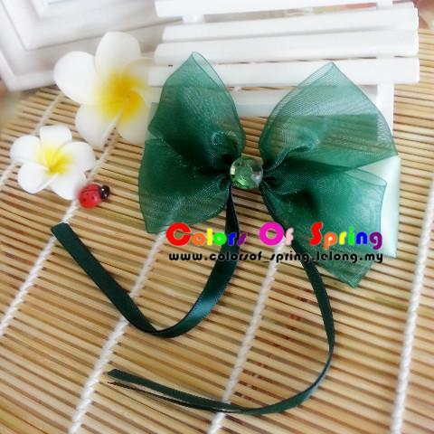 Handmade Dark Green Satin Ribbon hairpin with train
