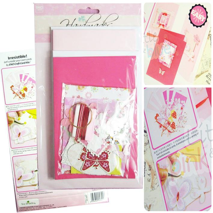 Handmade DIY Craft Card Kit (6 Cards)  - Pink