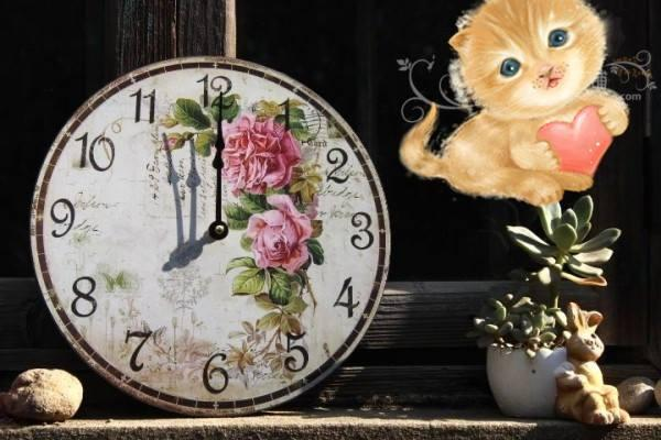 HD002 Vintage Pink Roses Wall Clock
