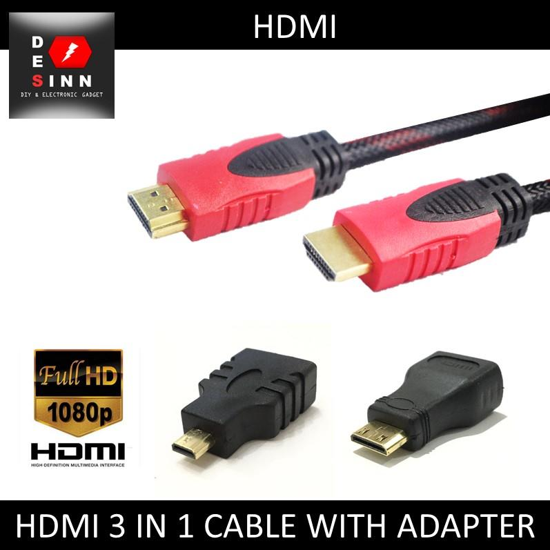 hdmi 3 in 1 cable 1 5 meter with mini end 8 9 2018 5 15 pm. Black Bedroom Furniture Sets. Home Design Ideas