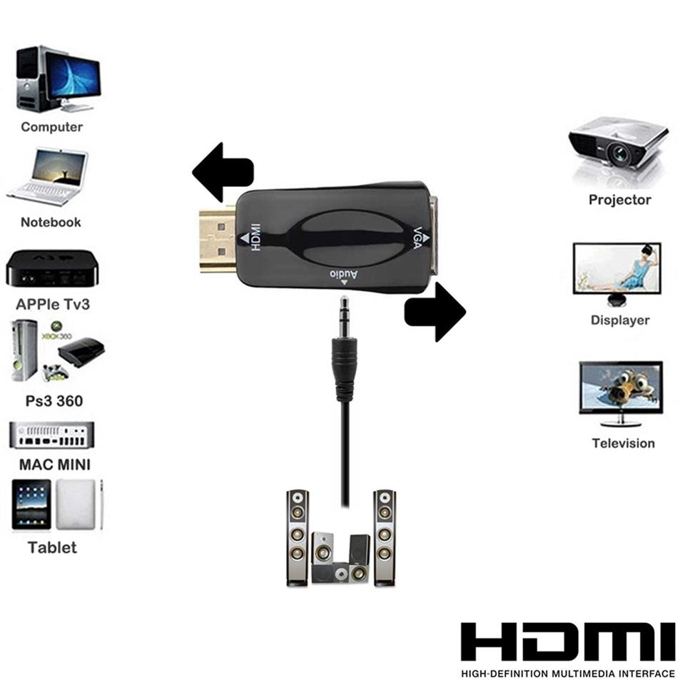 New HDMI Male to VGA Female Adapter Video 1080P With Audio
