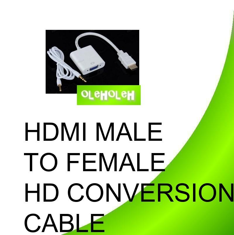 HDMI Male to VGA Female HD Conversion Cable with VGA + Audio Output