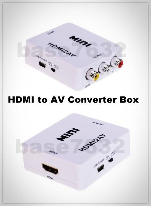 HDMI to AV Converter Adapter Video Audio 3 RCA Box World's Smallest