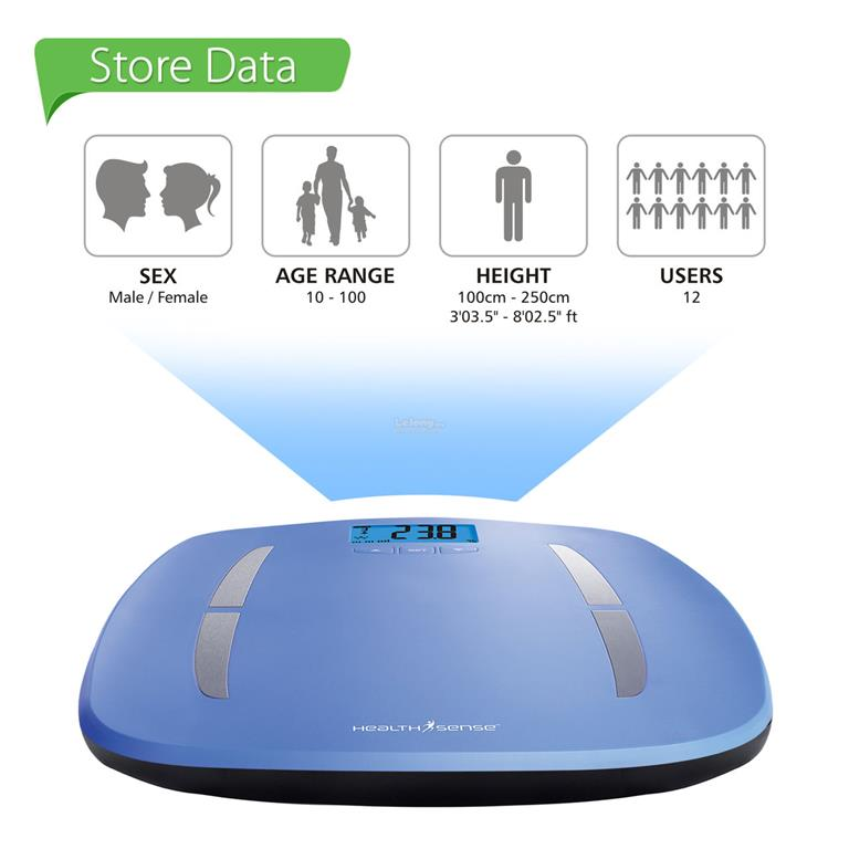 HealthSense UltraLite Body Fat Scale BF 414 Blue