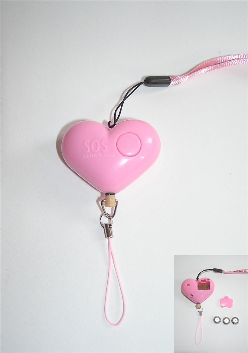 Heart Shape Defensive Personal Alarm With Light - Pink