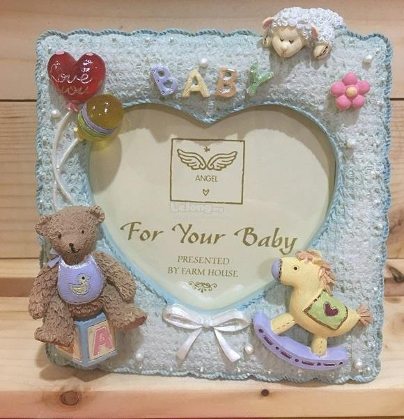 Heart shape photo frame mini bear lovers gift decoration - Blue