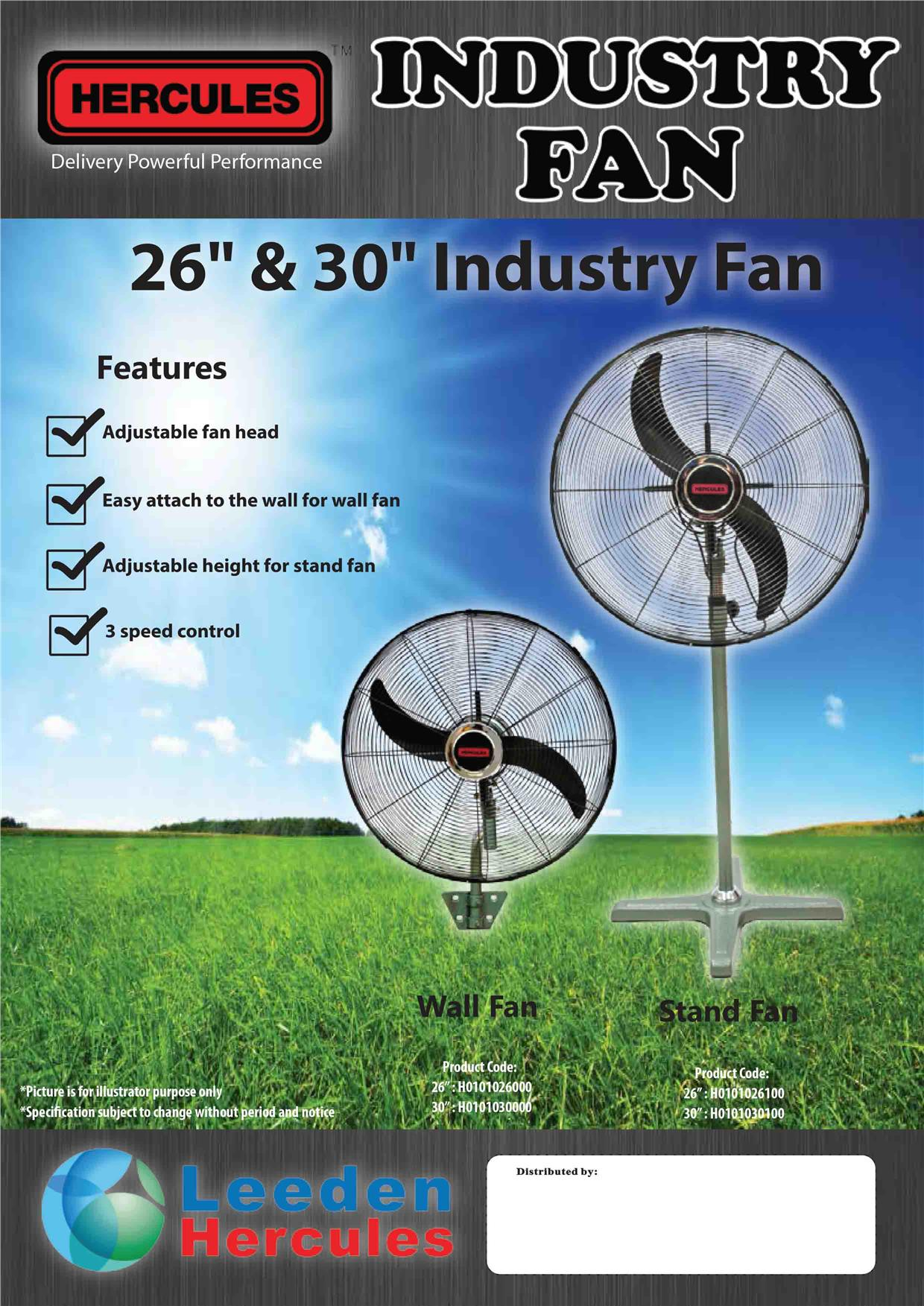 Heavy Duty High Power Industrial Wall Fan 30 inch