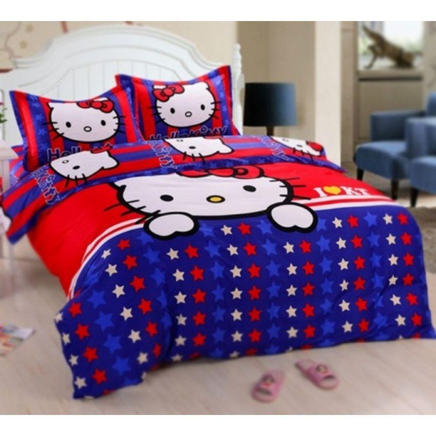 hello kitty fitted quilt cover bed sheet set starry kitty queen