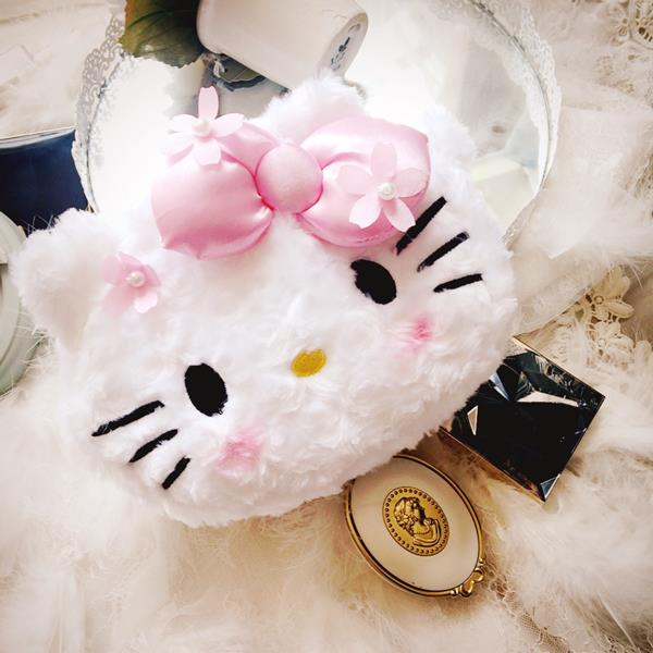 Hello Kitty or Melody Soft Plush Cosmetic Bag Ready Stock