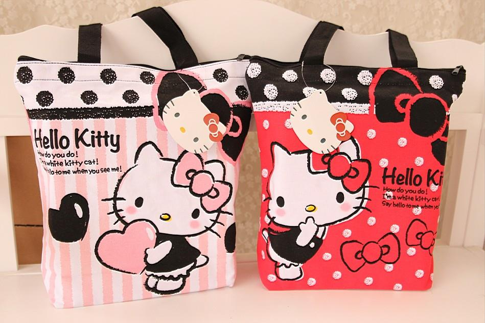 Hello Kitty Sweet Colorful Print Canvas Tote Bag Ready Stock
