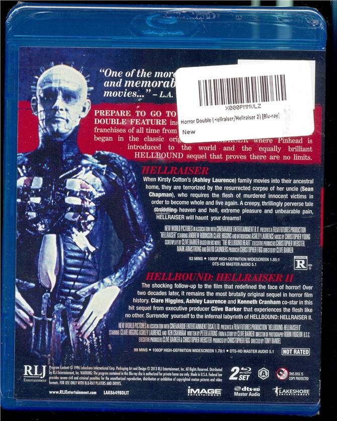 Hellraiser - Double Feature - New Blu-Ray